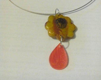 Shrink plastic and polymer clay necklace
