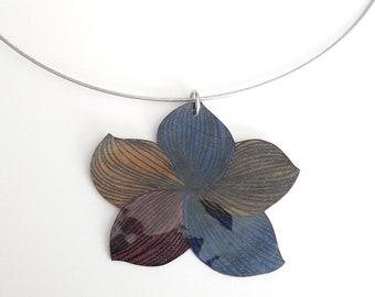 """Necklace blue tones """"plumeria flower"""""""