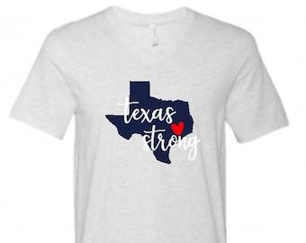 Texas Strong Hurricane Harvey Fundraiser T-Shirt Baseball Raglan - Houston Texas Flood Relief Shirt - V Neck - Texas Logo - Harvey 2017