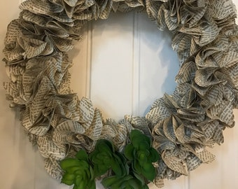 Book Page Wreath - Green Succulents
