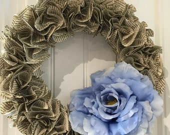 Book Page Wreath - Large Blue Artificial Flower
