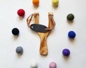 Slingshot Wood Slingshot Pretend Play Felt Ball Ammo Slingshot With Felt Balls Wooden Toy Slingshot Kit Outdoor Toy Kids Toy