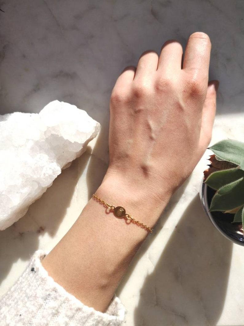 jewelry delicate brass boho round charm boho tiny pineapple was minimalist Chain bracelet gold stainless steel fine