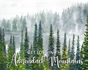 Adirondack Mountains Art, Adirondack Watercolor Print, In The Adirondacks Wall Decor, Adirondack Mountain Wilderness
