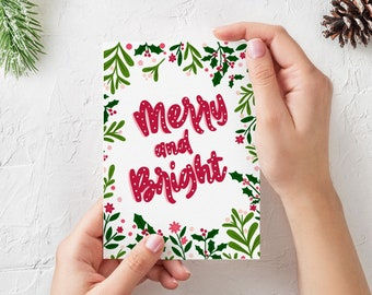 Merry and Bright Illustrated Christmas Card - Blank Inside - 5x7