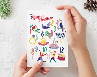 12 Days of Christmas Illustrated Christmas Card - 5x7 Folded - Blank Inside