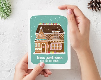 Gingerbread House Illustrated Christmas Card - 5x7 Folded - Blank Inside
