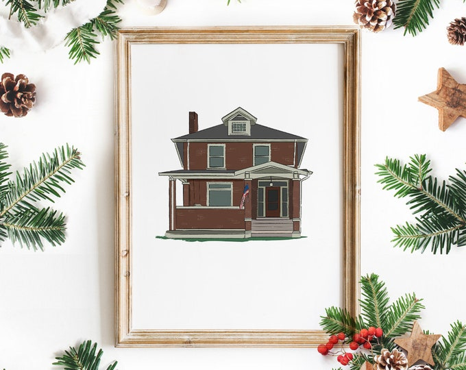 Featured listing image: Custom Illustrated House Portrait - Made to Order