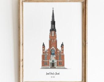 Fort Wayne St. Paul's Historic Church Art Print