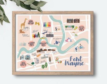 Downtown Fort Wayne Illustrated Map Art Print