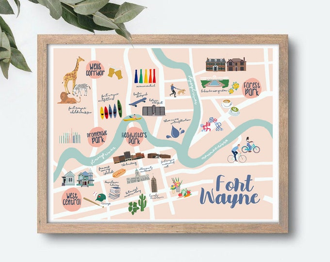 Featured listing image: Downtown Fort Wayne Illustrated Map Art Print
