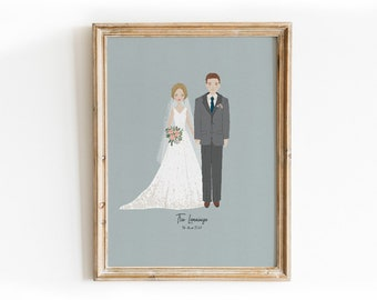 Custom Wedding Portrait  Design Print - Anniversary Gift, Wedding Gift, Bridal Shower