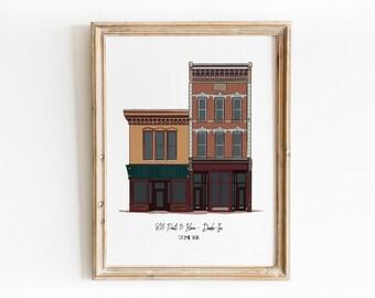 Downtown Fort Wayne 816 Pint & Slice + Dash-In Buildings -  Art Print