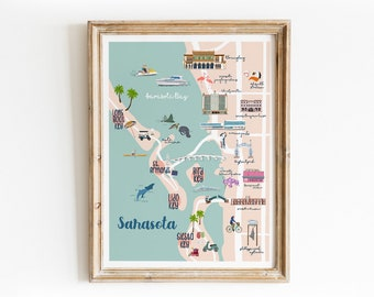 Sarasota Illustrated Map Art Print - Hand Drawn Illustration