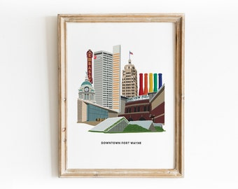 Downtown Fort Wayne Illustrated Art Print