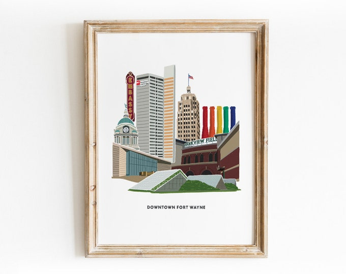 Featured listing image: Downtown Fort Wayne Illustrated Art Print