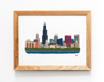 Chicago Skyline Illustrated Art Print