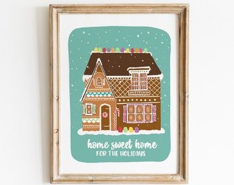 Gingerbread House Art Print - Hand Drawn Illustration