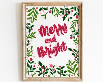 Merry and Bright Art Print - Hand Drawn Illustration