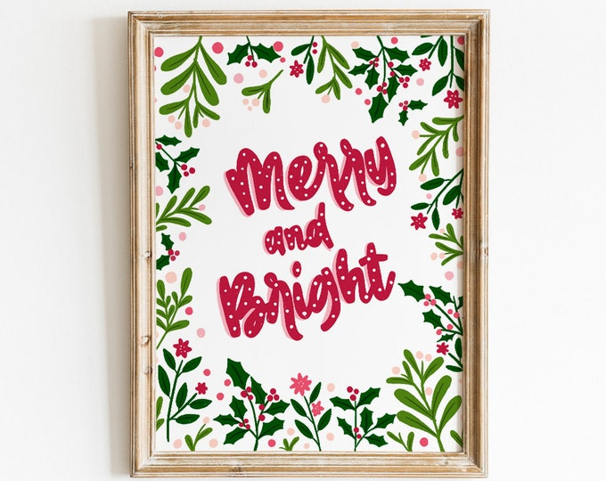 Featured listing image: Merry and Bright Art Print - Hand Drawn Illustration