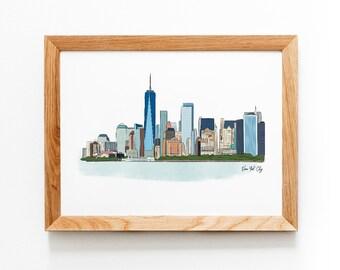New York City Skyline Illustrated Art Print