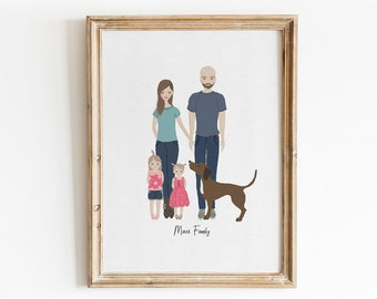 Custom Illustrated Family Portrait Design + Print - Made to Order