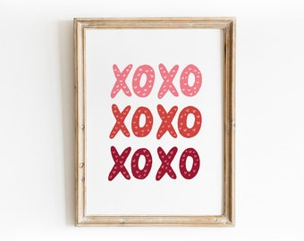 XOXO Valentine's Day Art Print - Hand Drawn Illustration