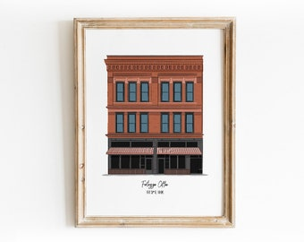 Downtown Fort Wayne - Fortezza Coffee - Building Art Print