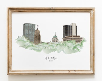 Fort Wayne Indiana Skyline Illustration Art Print