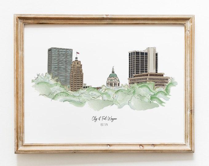 Featured listing image: Fort Wayne Indiana Skyline Illustration Art Print