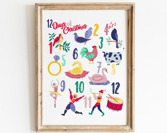 12 Days of Christmas Art Print - Hand Drawn Illustration