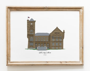 Wells County Courthouse Illustrated Art Print