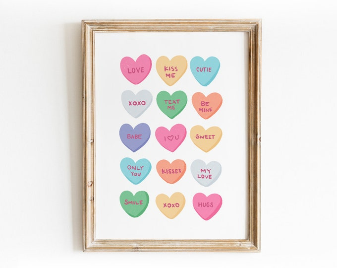Featured listing image: Candy Heart Valentine's Day Art Print - Hand Drawn Illustration