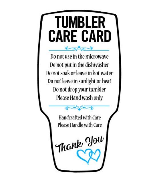 Tumbler Care Card Svg Png Pdf Printable Cutout Etsy