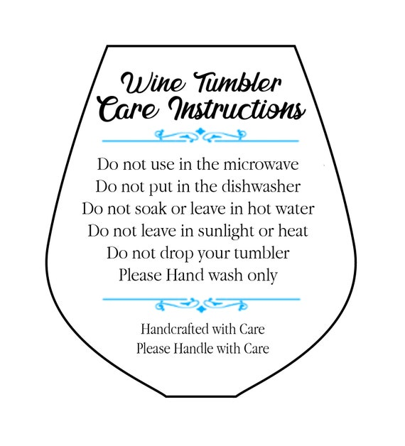 Wine Tumbler Glass Care Card Svg Png Pdf Printable Etsy
