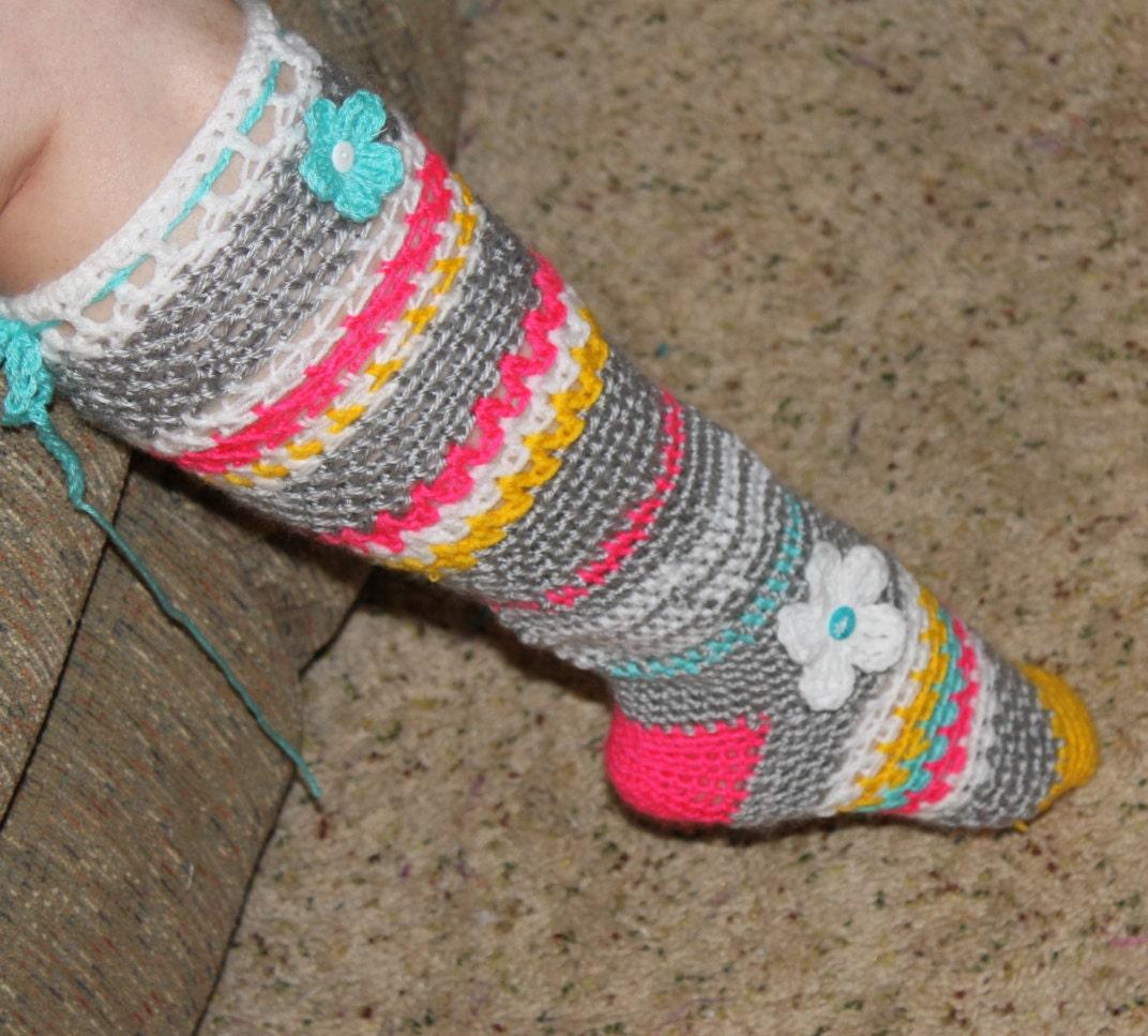 Ladies Womens Girls Neon Bright Heart Pattern Knee Socks Long Bright Colours