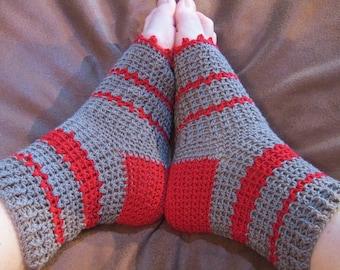 Pedicure Socks, Flip Flop Socks, Pedi Socks, Toe-less  Socks, Yoga Socks,Gift For Her, Gray Red Pedi Socks
