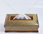 Handmade Wooden tissue Box wooden box fall Home decor mosaic box inlay with Copper Christmas Gift Gift for her