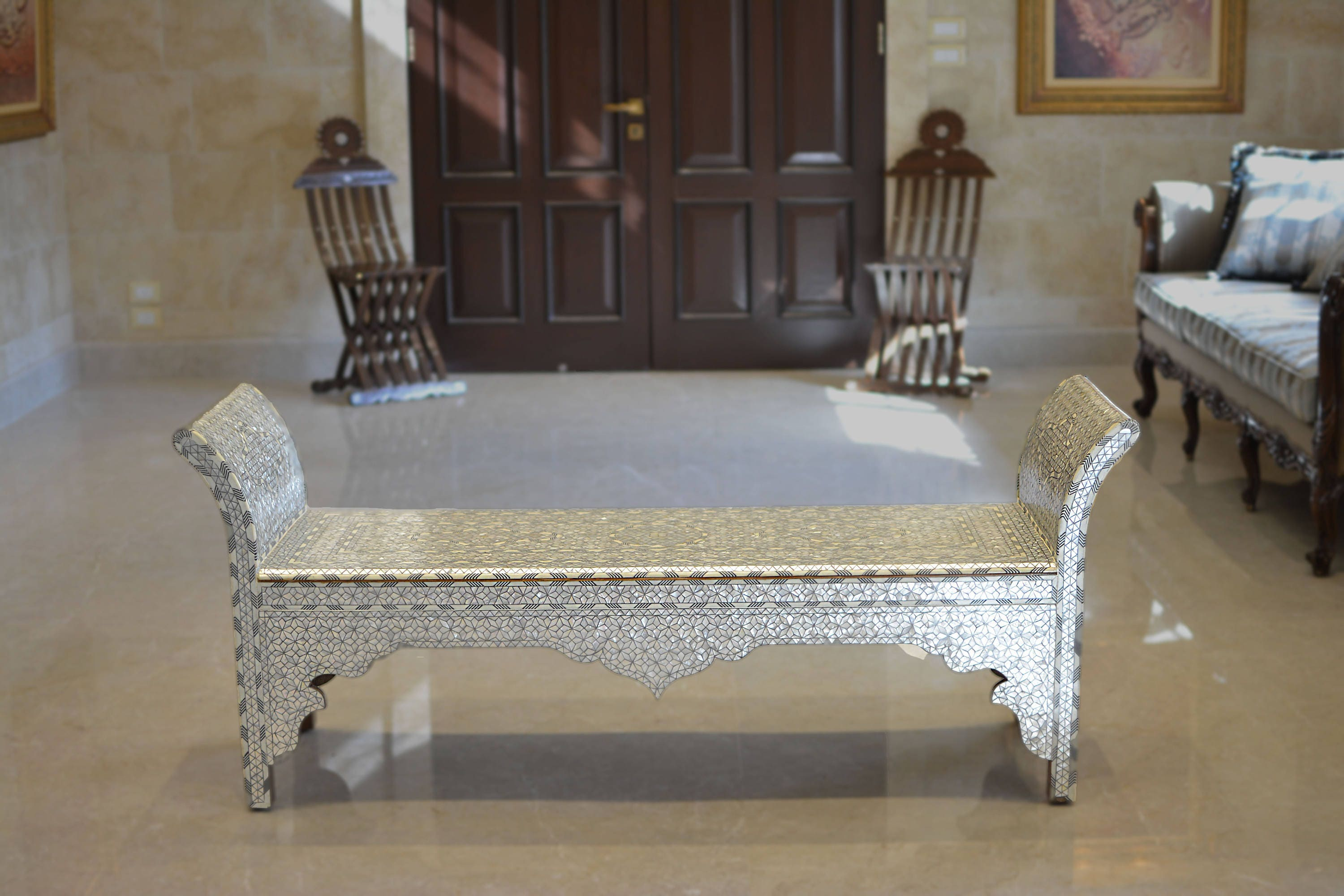 Bench Hand Bench Bench With Mother Of Pearl Inlay