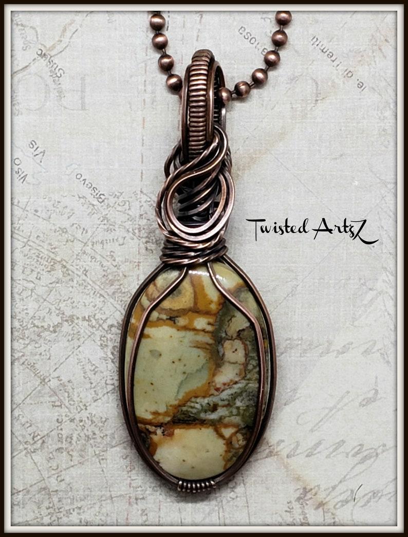 American Picture Jasper,Scenic Landscape,Copper Wire Wrapped Pendant