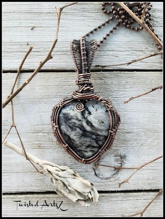 Copper Wire Wrapped Pendant Pinolith Jasper