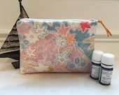 Sale Cute Essential Oil Bottle Carrying zipper Pouch Vintage Japanese Kimono Fabric, Floral wagara pattern, Handmade
