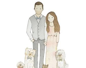 Family Pet Portrait | Custom Portrait | Couple Illustration | Watercolor | Hand Painted | Family Pet