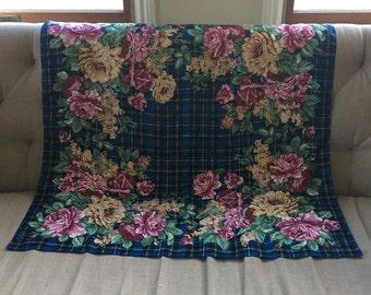 Vintage Saks Fifth Avenue Echo Silk Scarf Rose Scarf  Plaid Scarf