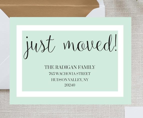 we 39 ve moved cards we have moved new address card etsy. Black Bedroom Furniture Sets. Home Design Ideas