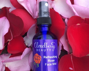 Refreshing ROSE FACIAL SPRAY - Genuine Rose Water All Day Face Mist & Toner - All Skin Types - Get Petal-Soft Skin Today!