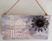 Wood Wall Hanging, Blue Sunflower Home Sweet Home