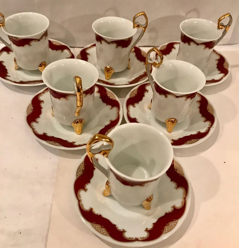 25357b53ff 6 Fancy Vintage gold and burgundy Porcelain Teacup & Saucer by | Etsy