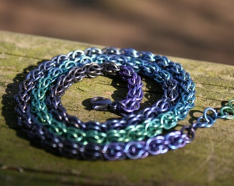 Blue-green Niobium Fieldstone Necklace