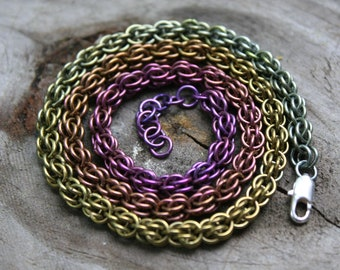 Fall Color Niobium Fieldstone Necklace